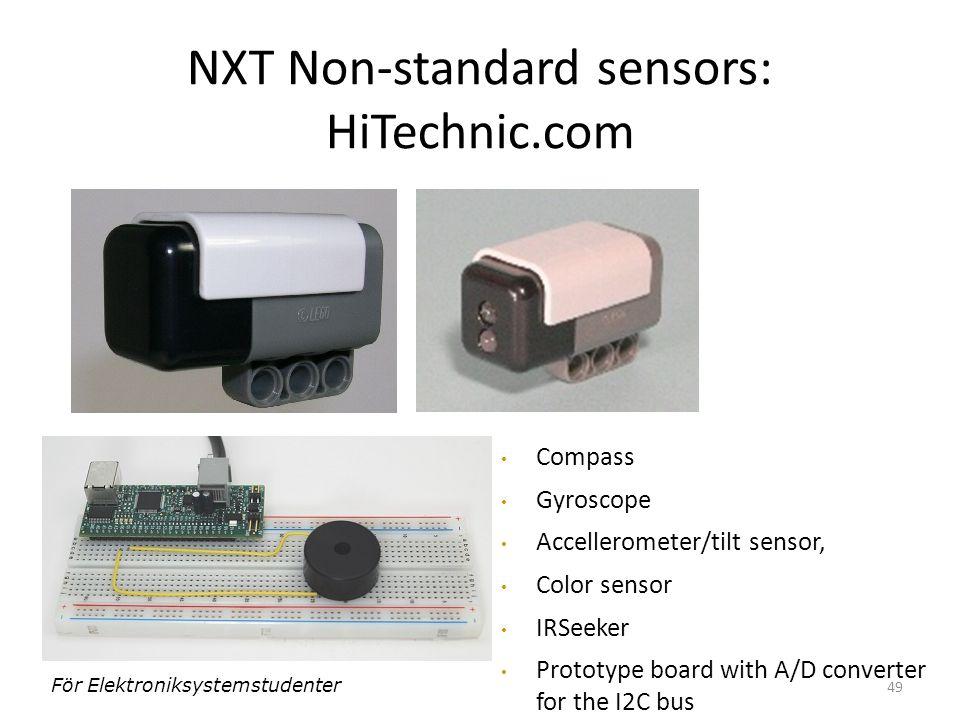 49 NXT Non-standard sensors: HiTechnic.com Compass Gyroscope Accellerometer/tilt sensor, Color sensor IRSeeker Prototype board with A/D converter for the I2C bus För Elektroniksystemstudenter