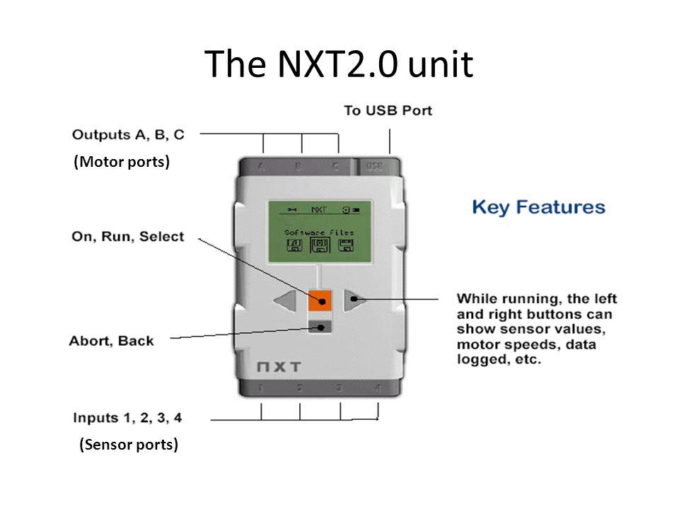 The NXT2.0 unit (Motor ports) (Sensor ports)