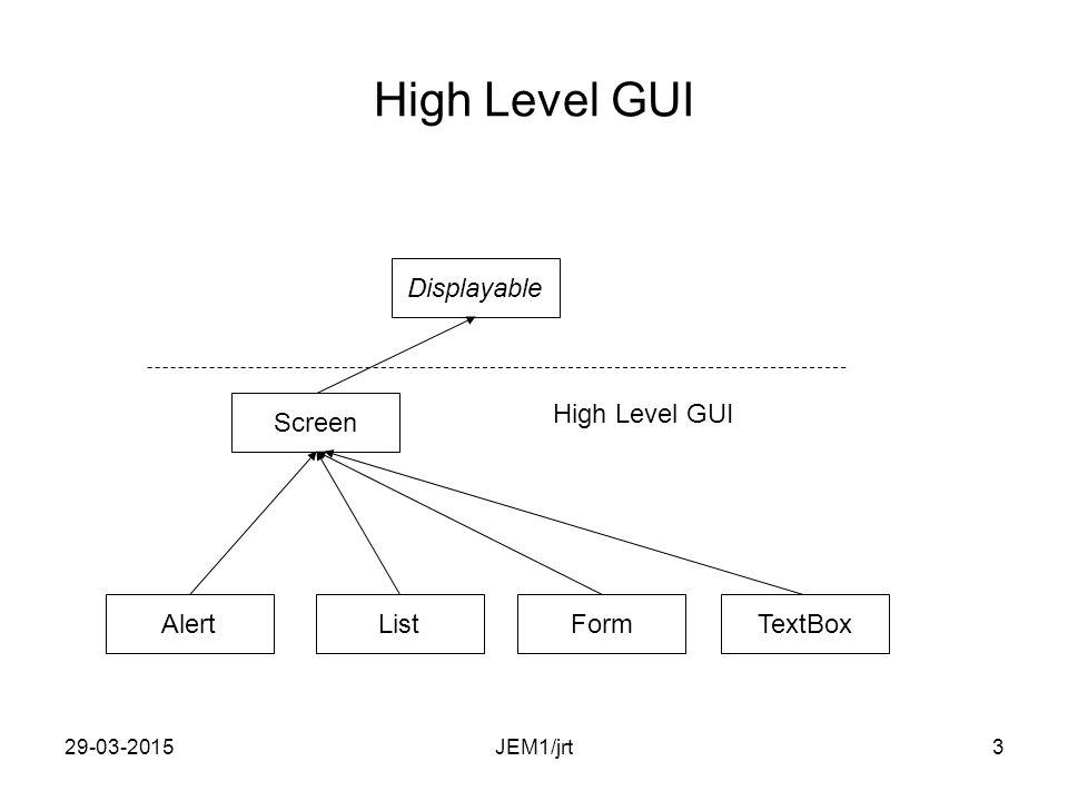 29-03-20152 Displayable hierarki Displayable ScreenCanvas TextBoxAlertFormList GameCanvas JEM1/jrt