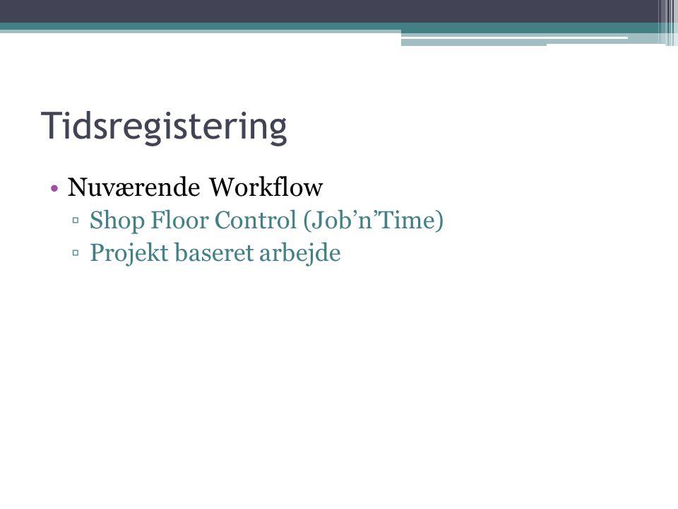 Tidsregistering Nuværende Workflow ▫Shop Floor Control (Job'n'Time) ▫Projekt baseret arbejde