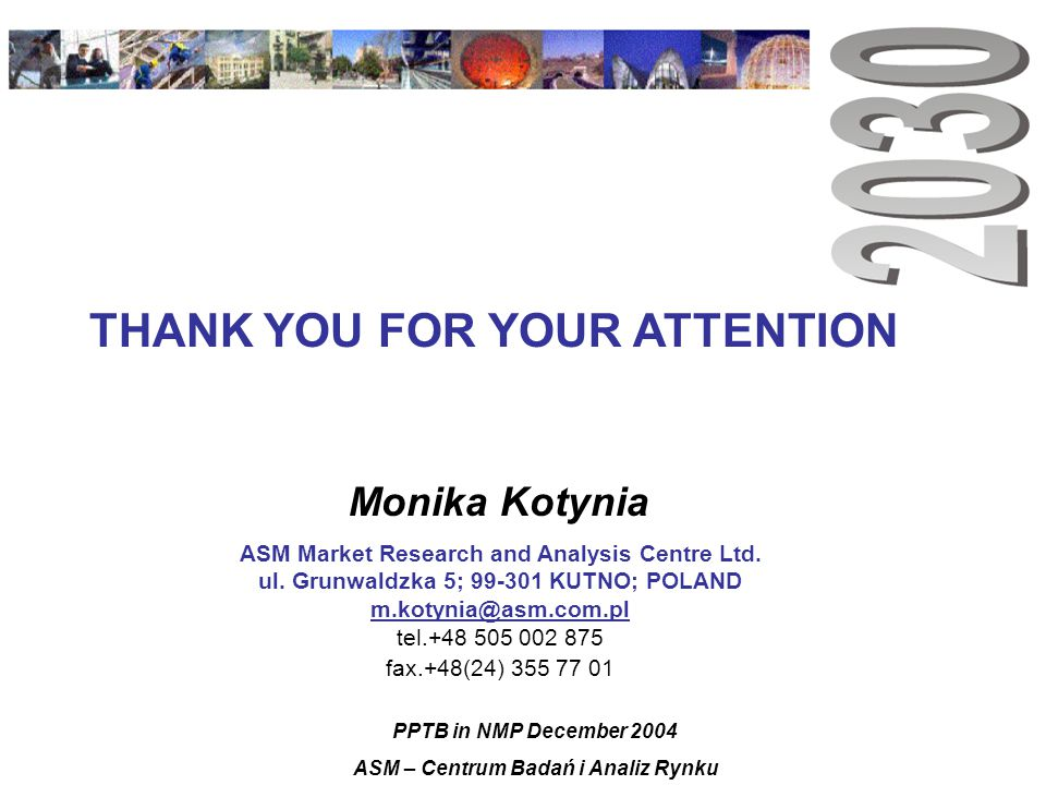 Monika Kotynia ASM Market Research and Analysis Centre Ltd.