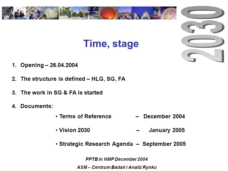 Time, stage 1.Opening – 26.04.2004 2.The structure is defined – HLG, SG, FA 3.The work in SG & FA is started 4.Documents: Terms of Reference – December 2004 Vision 2030 – January 2005 Strategic Research Agenda – September 2005 PPTB in NMP December 2004 ASM – Centrum Badań i Analiz Rynku