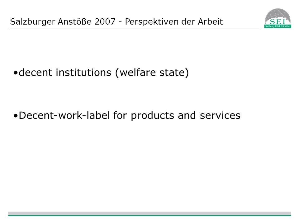 Salzburger Anstöße 2007 - Perspektiven der Arbeit decent institutions (welfare state) Decent-work-label for products and services