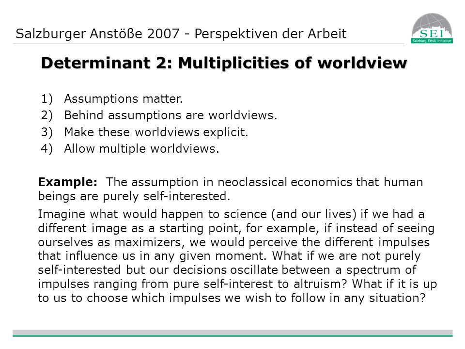 Salzburger Anstöße 2007 - Perspektiven der Arbeit Determinant 2: Multiplicities of worldview 1)Assumptions matter.