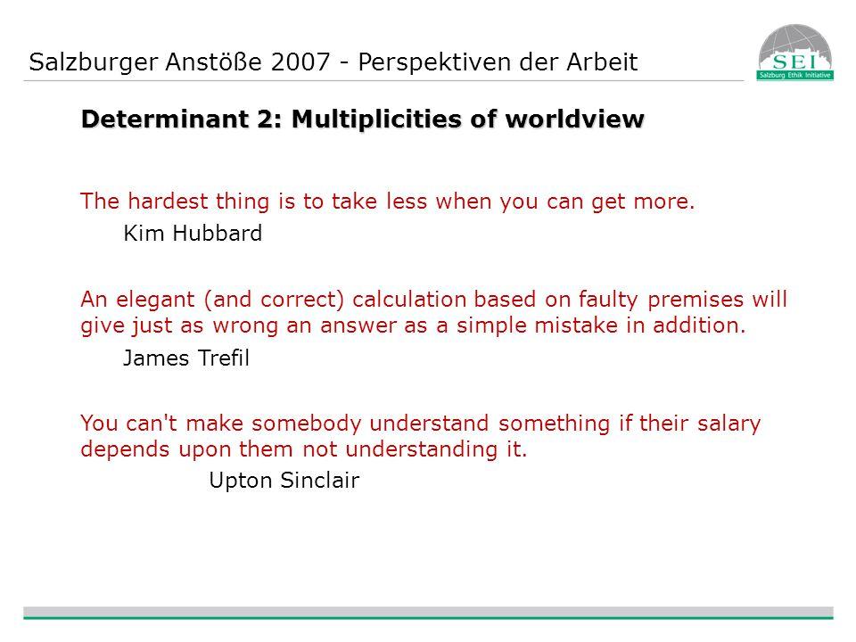 Salzburger Anstöße 2007 - Perspektiven der Arbeit Determinant 3: Comprehensive exploration of innovative ideas Example: Basic income.