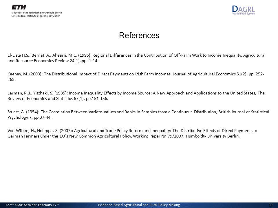 20. Januar 2011Der Effekt von Direktzahlungen auf die Einkommensverteilung11 References El-Osta H.S., Bernat, A., Ahearn, M.C. (1995): Regional Differ