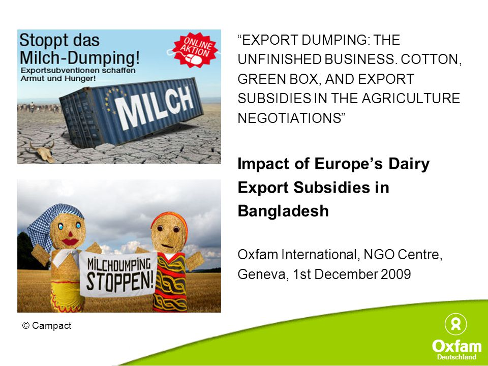 Deutschland EXPORT DUMPING: THE UNFINISHED BUSINESS.