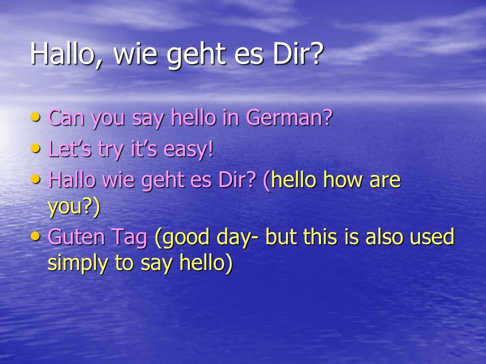 Now speak to your friend.Hallo Hallo Guten Tag Guten Tag Wie geht's Dir.