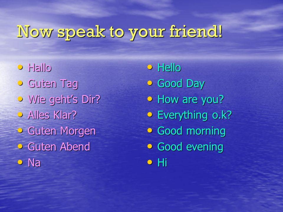 Now speak to your friend. Hallo Hallo Guten Tag Guten Tag Wie geht's Dir.