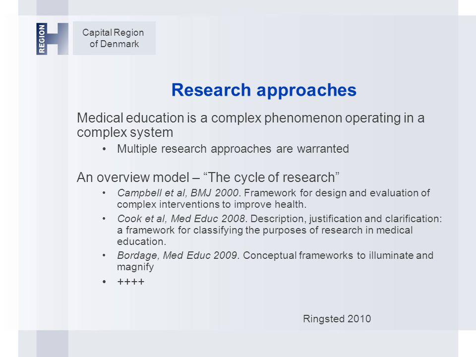 Capital Region of Denmark Research approaches Medical education is a complex phenomenon operating in a complex system Multiple research approaches are warranted An overview model – The cycle of research Campbell et al, BMJ 2000.