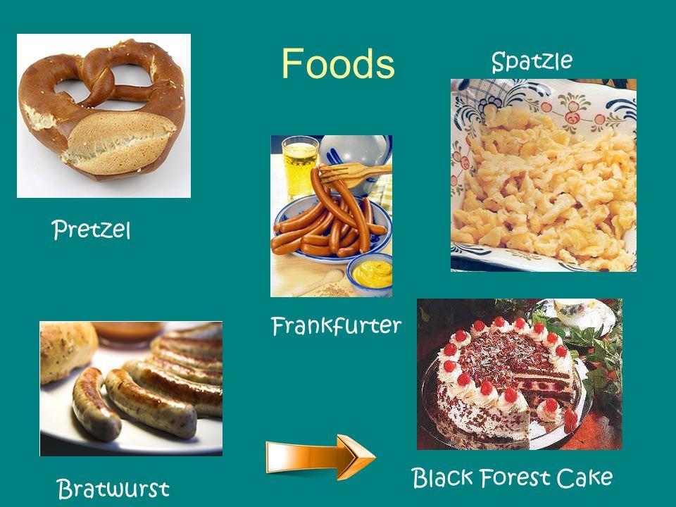 Foods Black Forest Cake Frankfurter Spatzle Pretzel Bratwurst