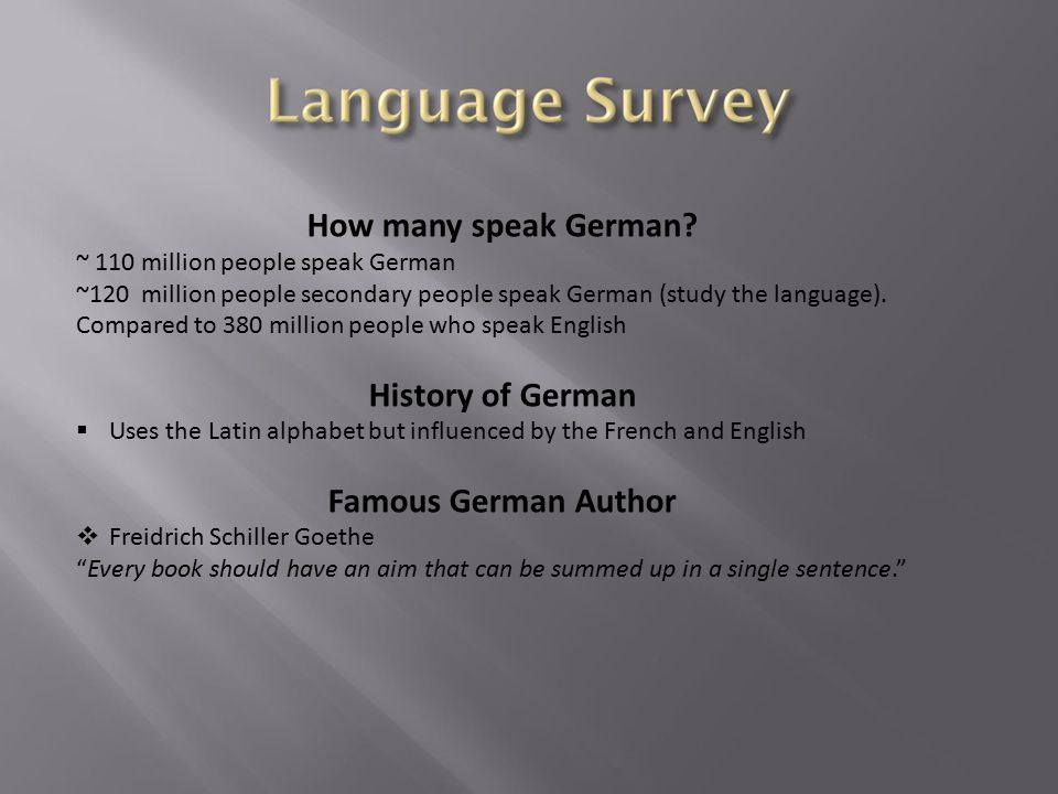 How many speak German.