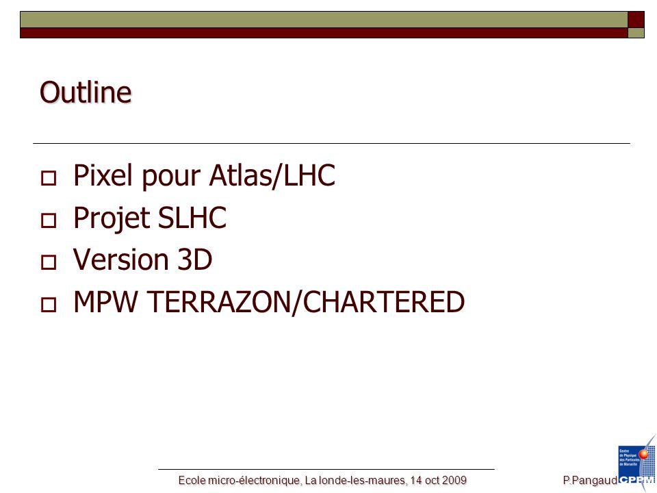 Ecole micro-électronique, La londe-les-maures, 14 oct 2009 P.Pangaud Outline  Pixel pour Atlas/LHC  Projet SLHC  Version 3D  MPW TERRAZON/CHARTERED