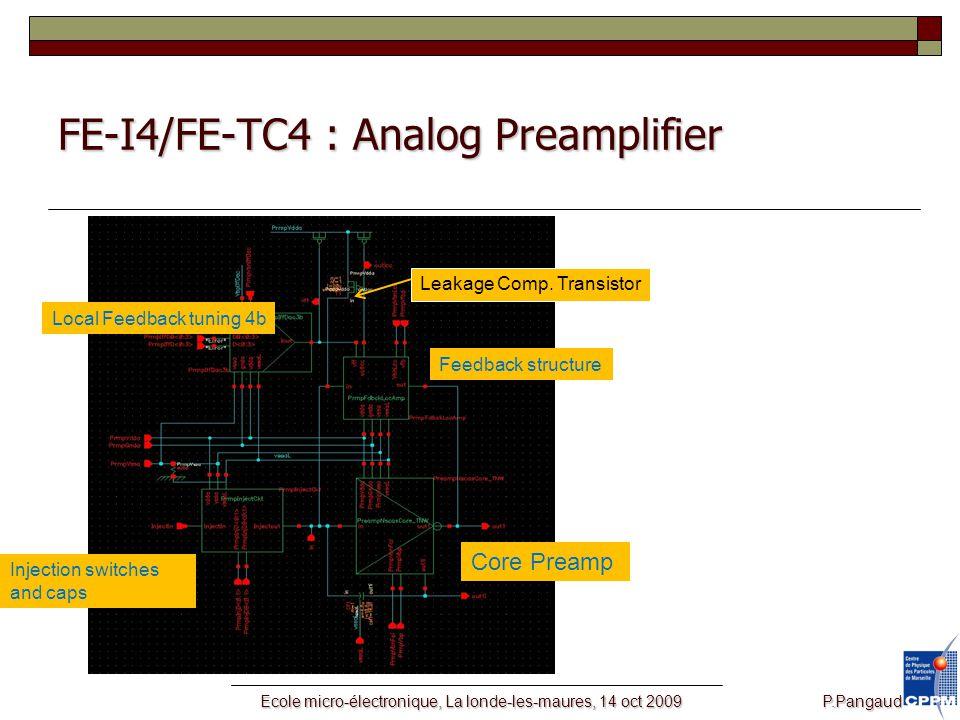 Ecole micro-électronique, La londe-les-maures, 14 oct 2009 P.Pangaud FE-I4/FE-TC4 : Analog Preamplifier Leakage Comp.