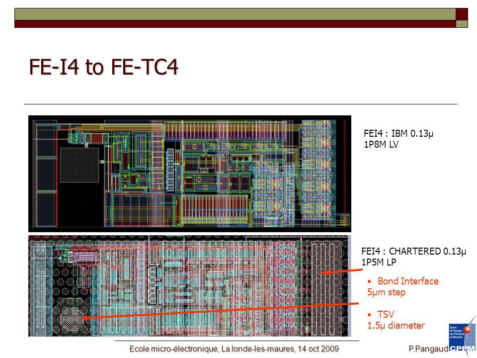 Ecole micro-électronique, La londe-les-maures, 14 oct 2009 P.Pangaud FE-I4 to FE-TC4 FEI4 : IBM 0.13µ 1P8M LV FEI4 : CHARTERED 0.13µ 1P5M LP Bond Interface 5µm step TSV 1.5µ diameter