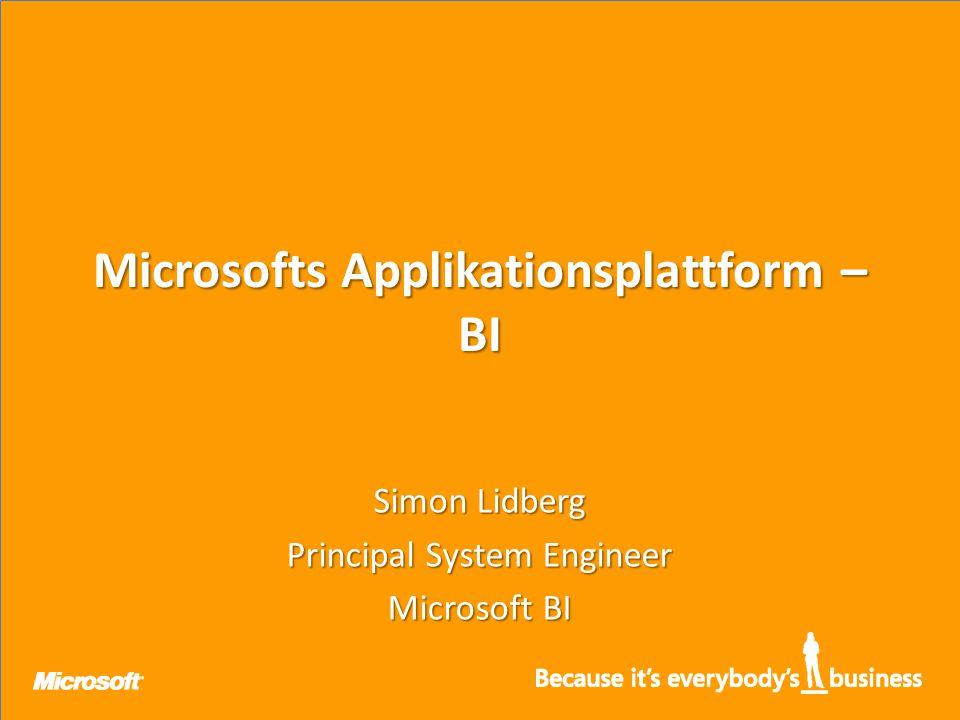 Microsofts Applikationsplattform – BI Simon Lidberg Principal System Engineer Microsoft BI