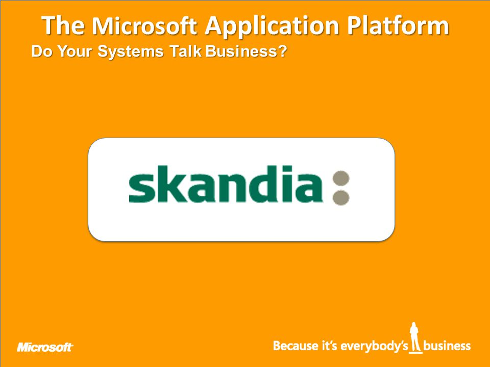 The Microsoft Application Platform Do Your Systems Talk Business