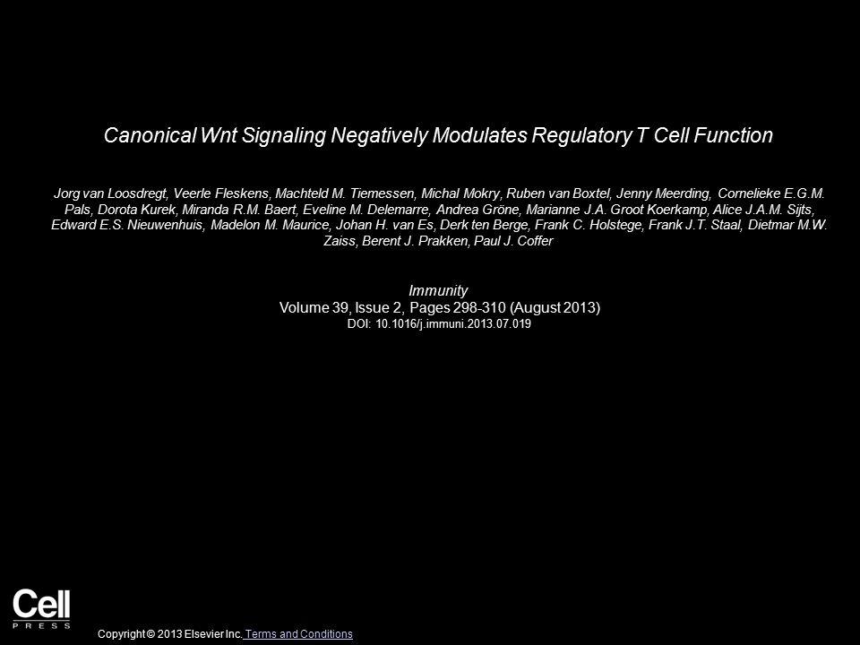 Canonical Wnt Signaling Negatively Modulates Regulatory T Cell Function Jorg van Loosdregt, Veerle Fleskens, Machteld M.