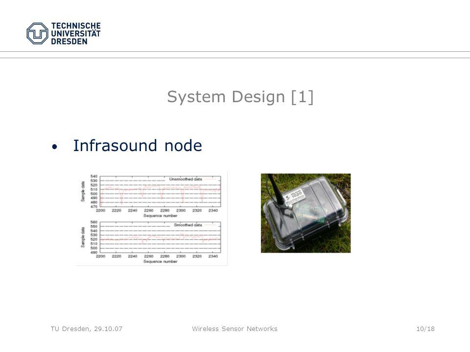 TU Dresden, 29.10.07Wireless Sensor Networks10/18 System Design [1] Infrasound node