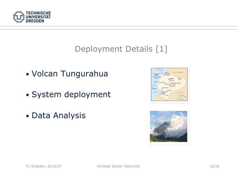 TU Dresden, 29.10.07Wireless Sensor Networks13/18 Deployment Details [1] Volcan Tungurahua System deployment Data Analysis