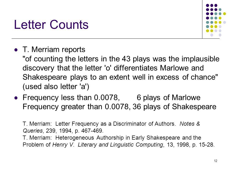 12 Letter Counts T.