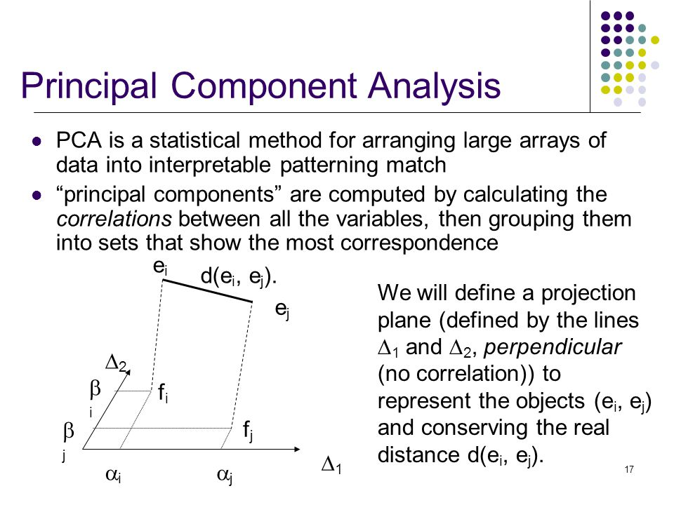17 PCA is a statistical method for arranging large arrays of data into interpretable patterning match principal components are computed by calculating the correlations between all the variables, then grouping them into sets that show the most correspondence Principal Component Analysis 11 22 fifi fjfj eiei ejej jj ii jj ii We will define a projection plane (defined by the lines  1 and  2, perpendicular (no correlation)) to represent the objects (e i, e j ) and conserving the real distance d(e i, e j ).