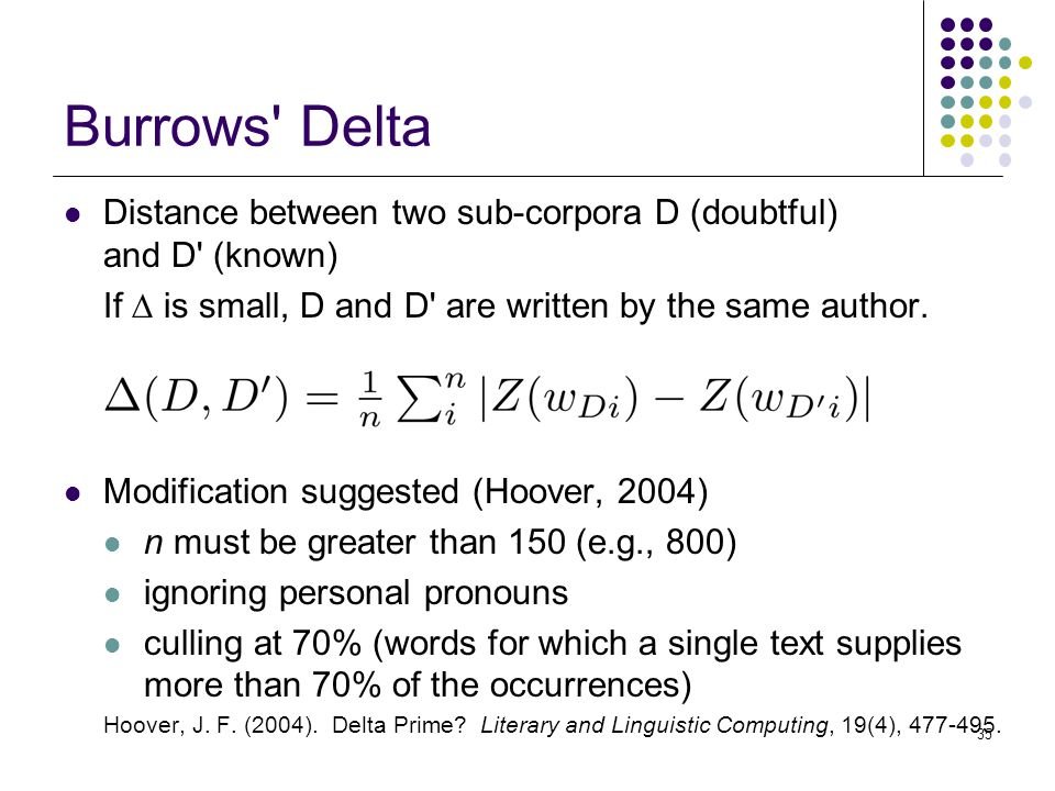 35 Burrows Delta Distance between two sub-corpora D (doubtful) and D (known) If  is small, D and D are written by the same author.