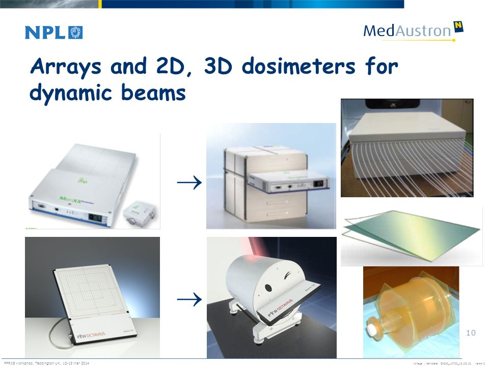 Vorlage / template. ZA000_10700_1310013, Vers4.0 PPRIG workshop, Teddington UK, 12-13 Mar 2014 10 Arrays and 2D, 3D dosimeters for dynamic beams  