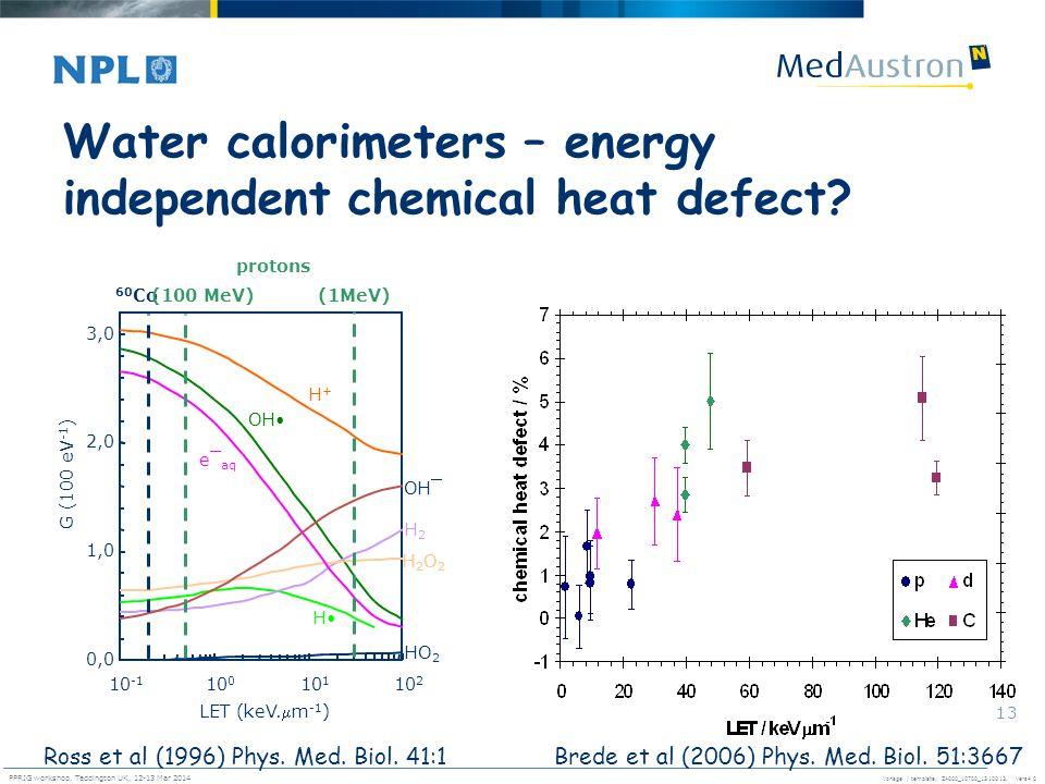 Vorlage / template. ZA000_10700_1310013, Vers4.0 PPRIG workshop, Teddington UK, 12-13 Mar 2014 13 Water calorimeters – energy independent chemical hea