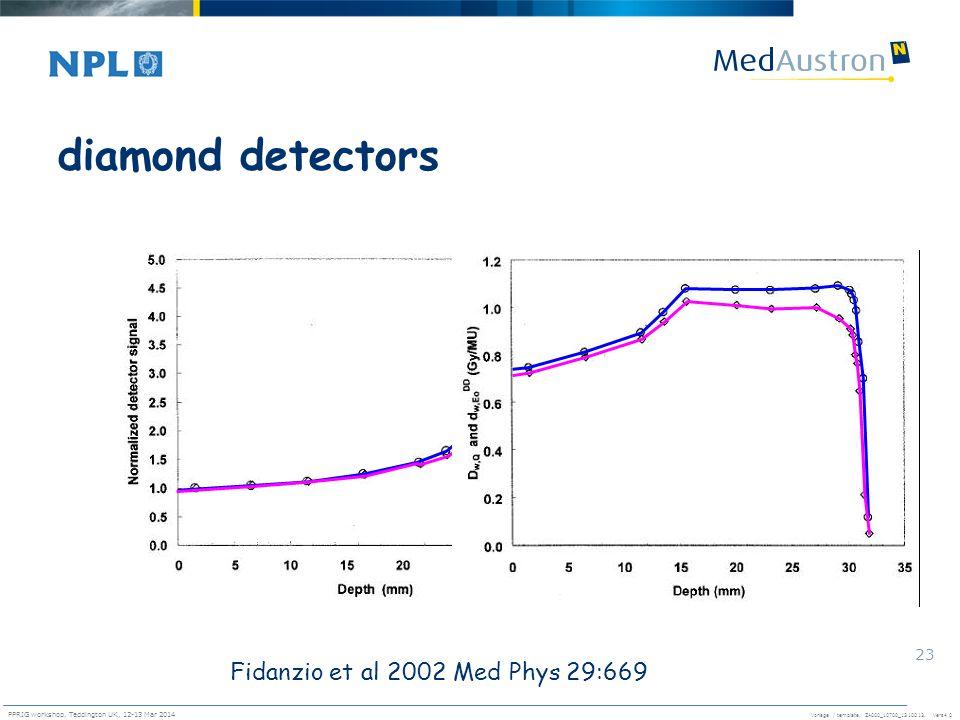Vorlage / template. ZA000_10700_1310013, Vers4.0 PPRIG workshop, Teddington UK, 12-13 Mar 2014 23 diamond detectors Fidanzio et al 2002 Med Phys 29:66