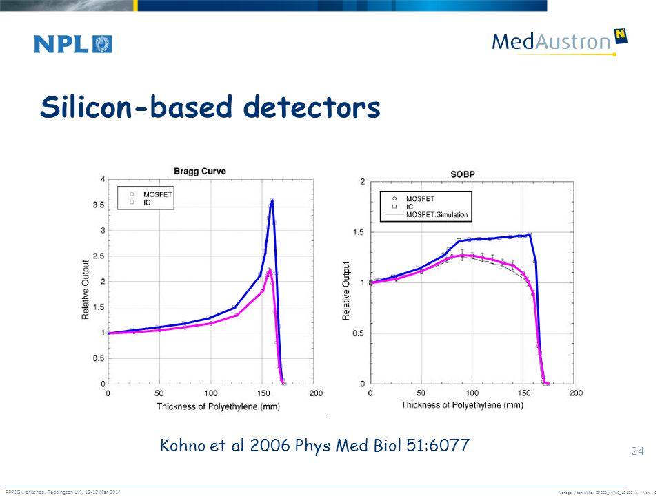 Vorlage / template. ZA000_10700_1310013, Vers4.0 PPRIG workshop, Teddington UK, 12-13 Mar 2014 24 Silicon-based detectors Kohno et al 2006 Phys Med Bi