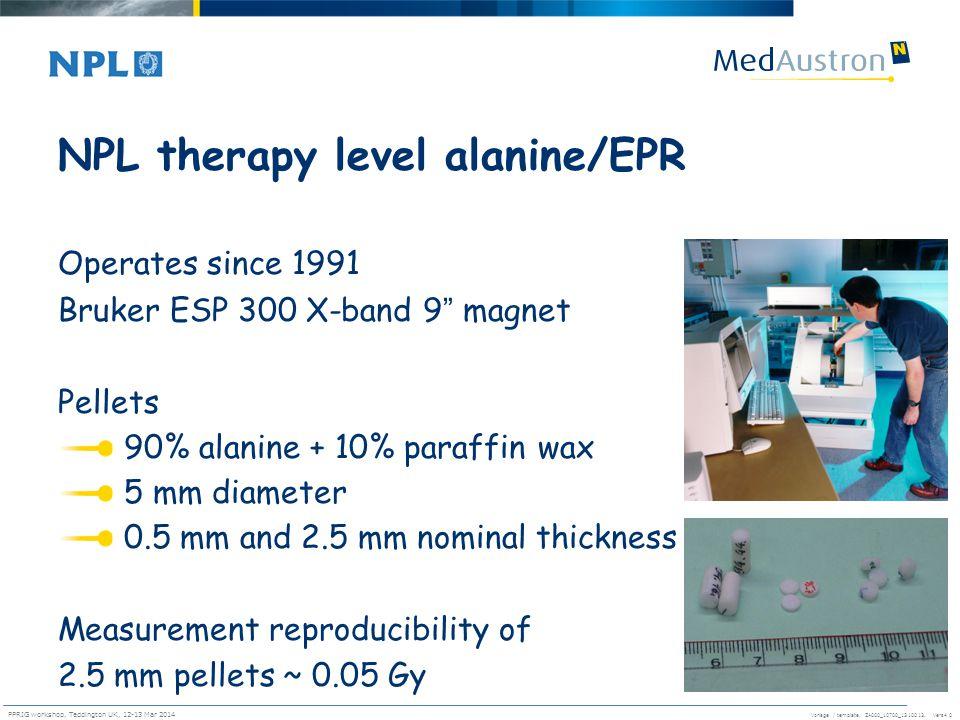 Vorlage / template. ZA000_10700_1310013, Vers4.0 PPRIG workshop, Teddington UK, 12-13 Mar 2014 26 NPL therapy level alanine/EPR Operates since 1991 Br