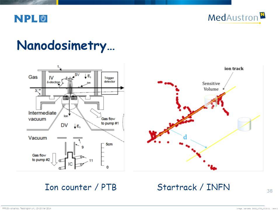 Vorlage / template. ZA000_10700_1310013, Vers4.0 PPRIG workshop, Teddington UK, 12-13 Mar 2014 38 Nanodosimetry… Ion counter / PTBStartrack / INFN