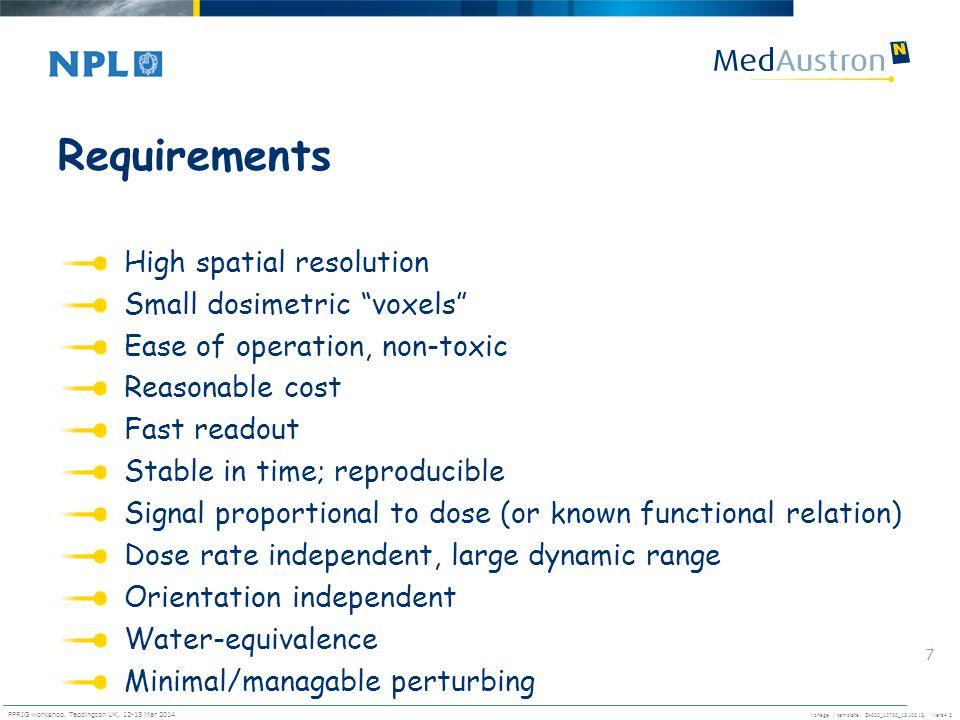 Vorlage / template. ZA000_10700_1310013, Vers4.0 PPRIG workshop, Teddington UK, 12-13 Mar 2014 7 Requirements High spatial resolution Small dosimetric