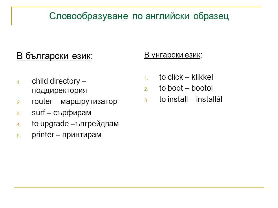 Словообразуване по английски образец В български език: 1.