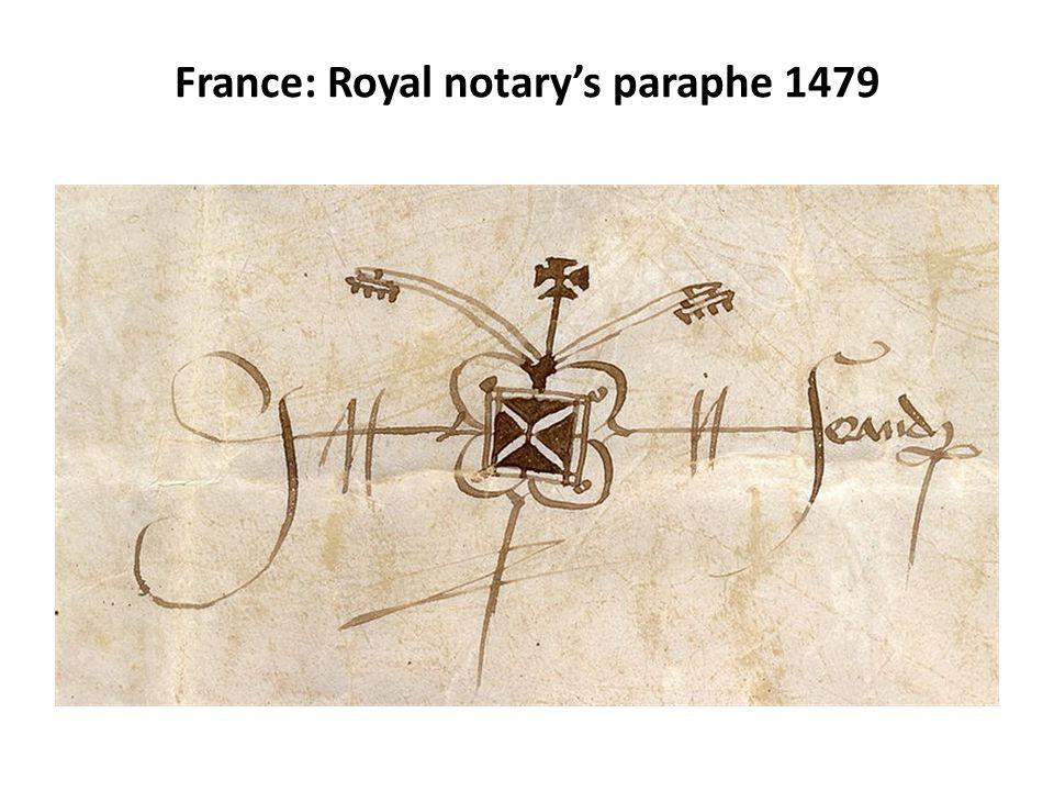 France: Royal notary's paraphe 1479