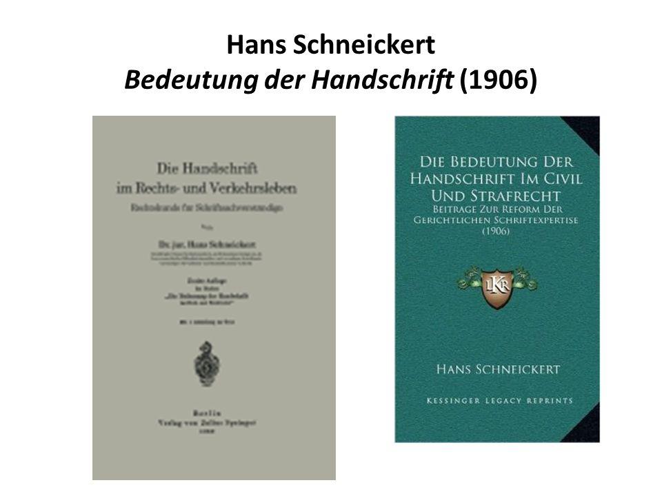 Hans Schneickert Bedeutung der Handschrift (1906)