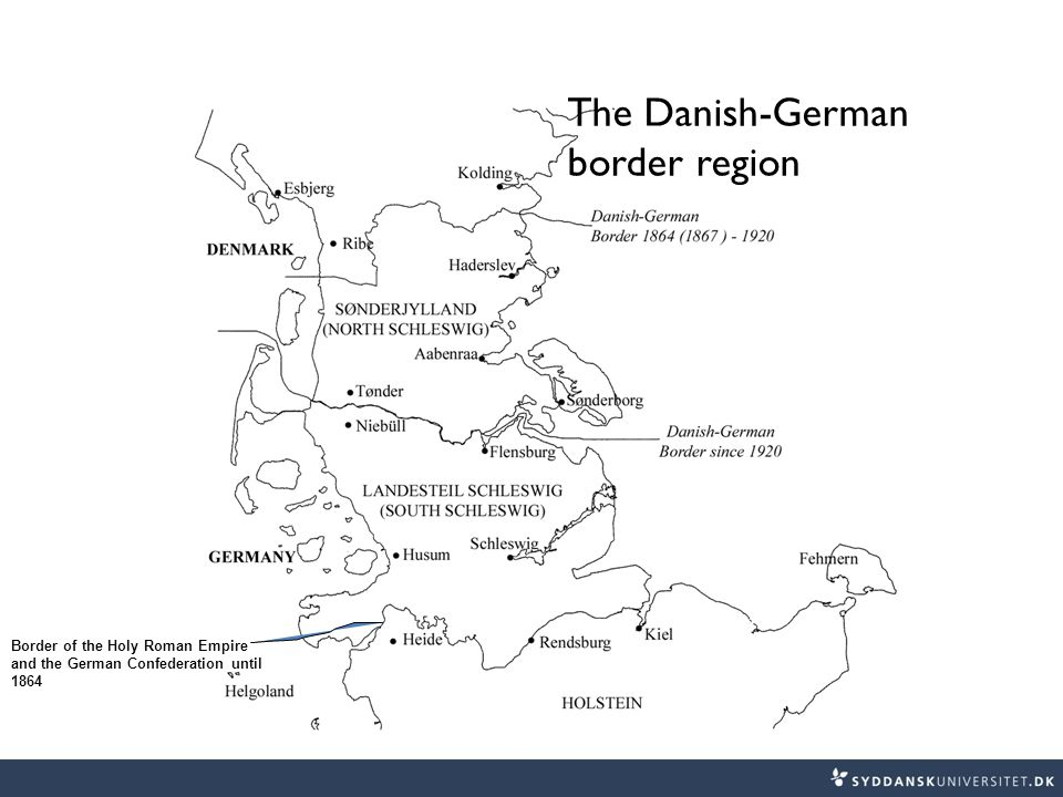 Border of the Holy Roman Empire and the German Confederation until 1864 The Danish-German border region