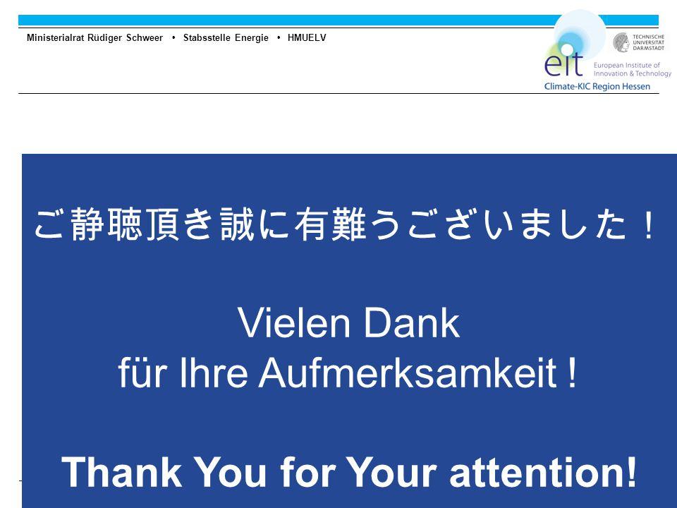 Ministerialrat Rüdiger Schweer Stabsstelle Energie HMUELV 12 ご静聴頂き誠に有難うございました! Vielen Dank für Ihre Aufmerksamkeit .