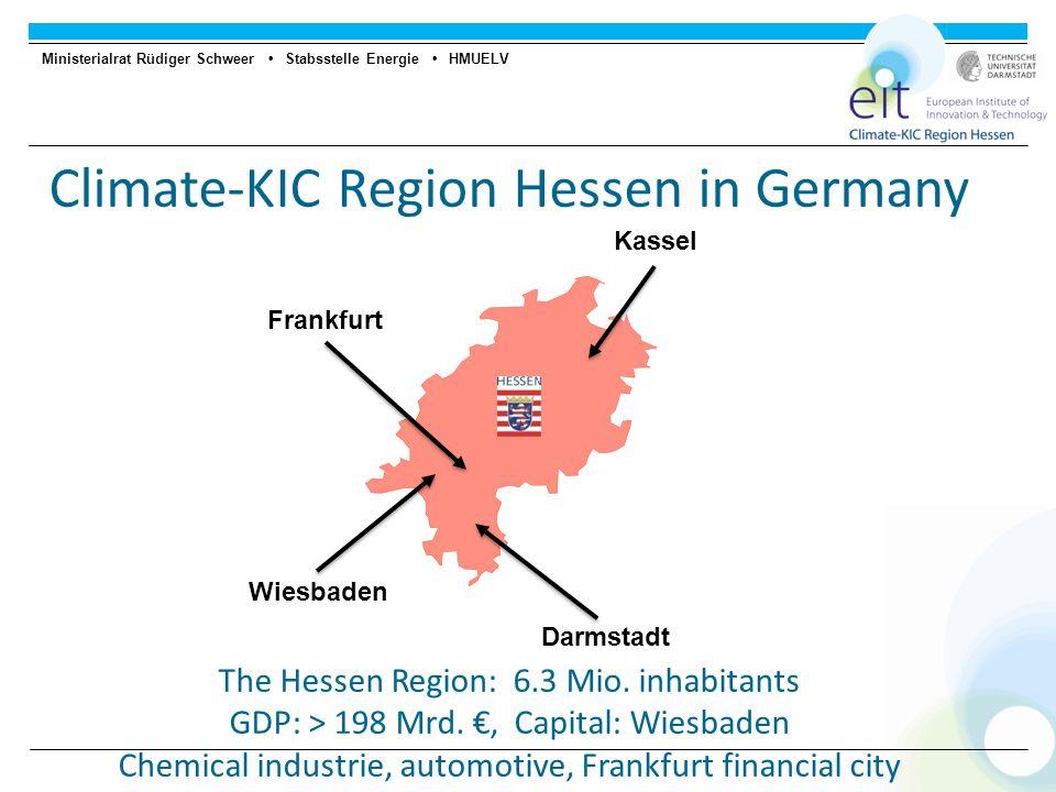Ministerialrat Rüdiger Schweer Stabsstelle Energie HMUELV Climate-KIC Region Hessen in Germany The Hessen Region: 6.3 Mio.