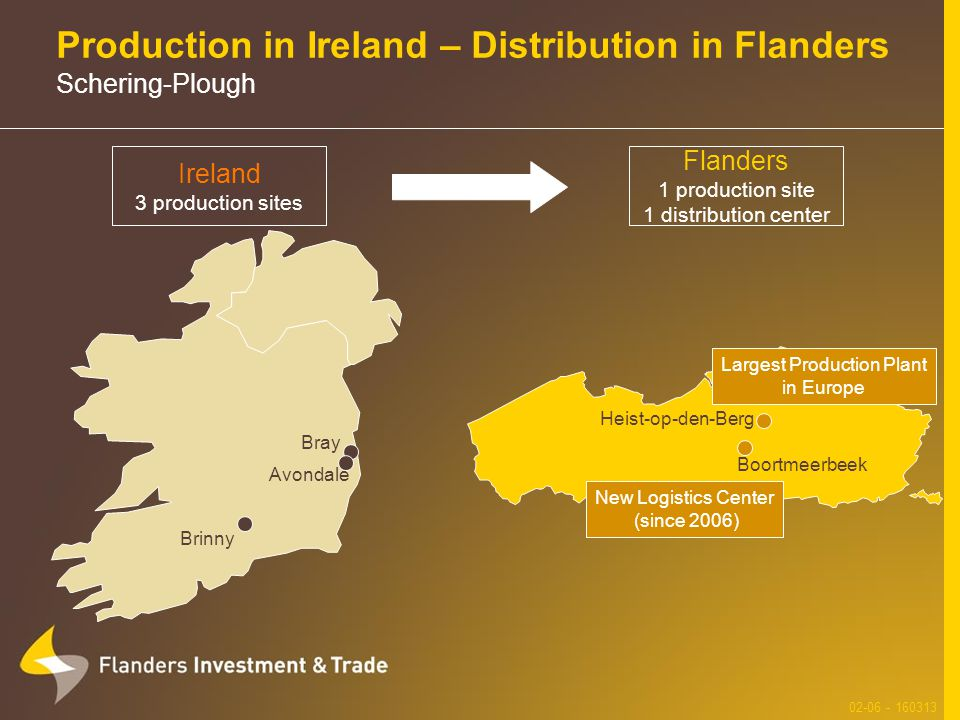Production in Ireland – Distribution in Flanders Schering-Plough 02-06 - 160313 Flanders 1 production site 1 distribution center Ireland 3 production sites Boortmeerbeek Heist-op-den-Berg Largest Production Plant in Europe New Logistics Center (since 2006) Bray Avondale Brinny