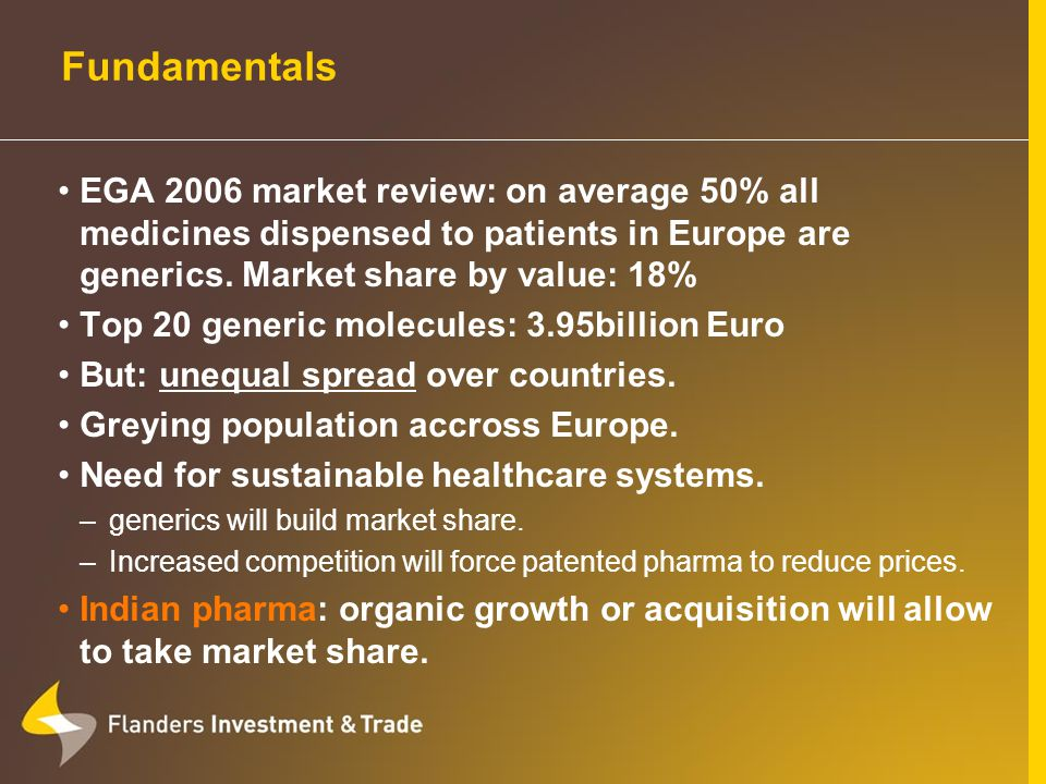 Fundamentals EGA 2006 market review: on average 50% all medicines dispensed to patients in Europe are generics.
