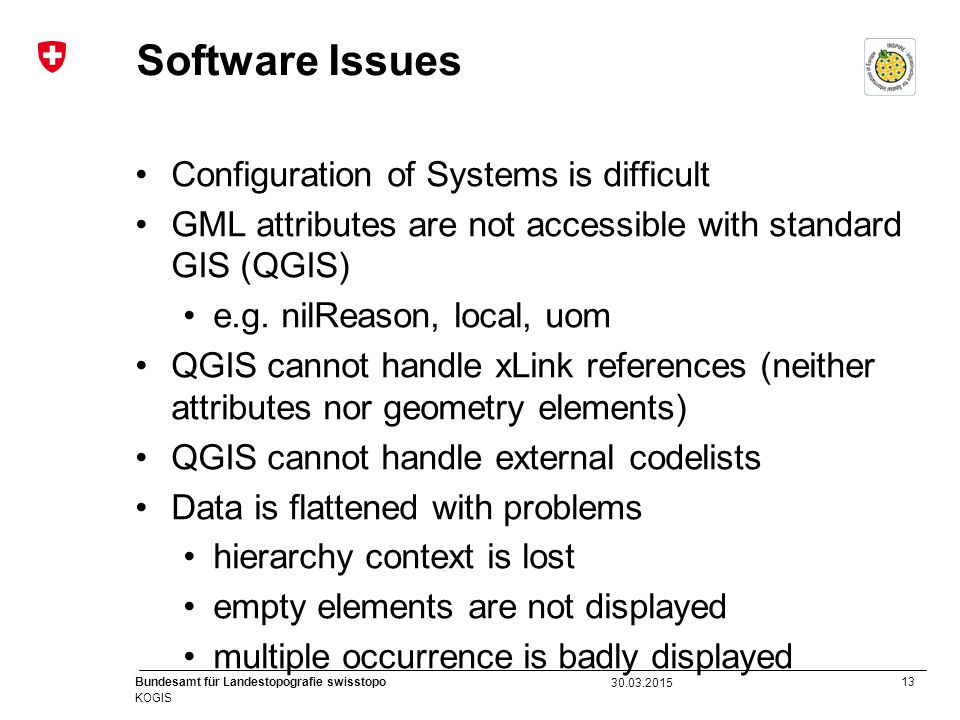 13 Bundesamt für Landestopografie swisstopo KOGIS Software Issues Configuration of Systems is difficult GML attributes are not accessible with standard GIS (QGIS) e.g.