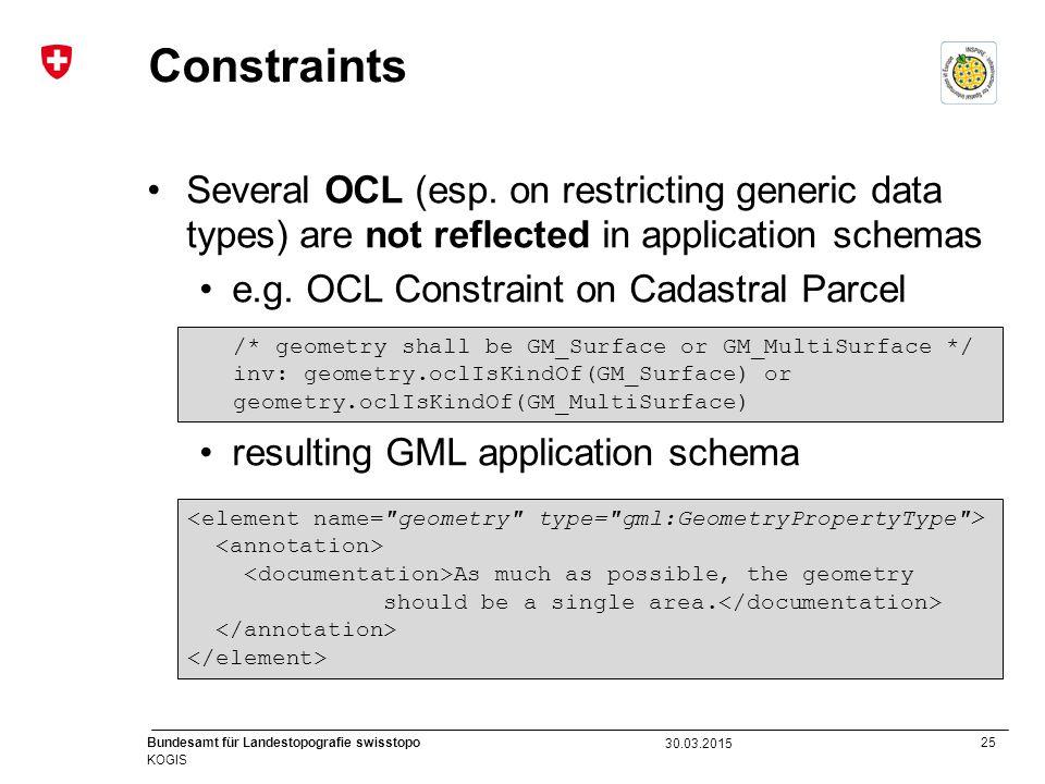 25 Bundesamt für Landestopografie swisstopo KOGIS Constraints Several OCL (esp. on restricting generic data types) are not reflected in application sc