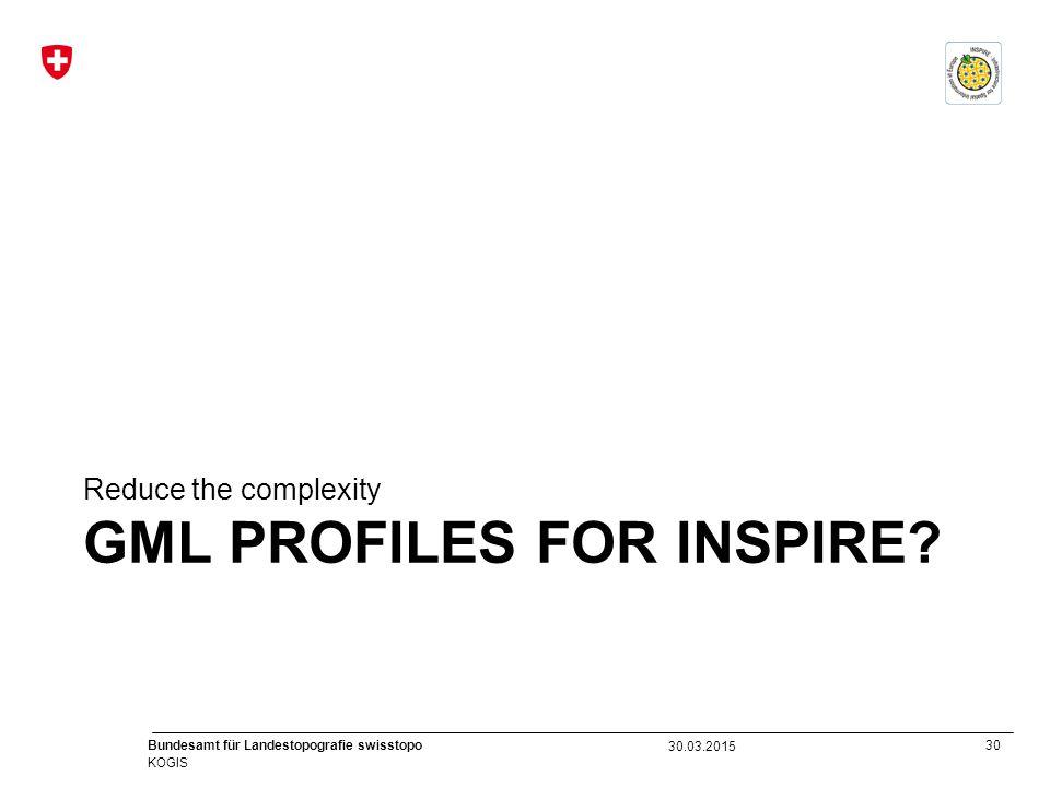 30 Bundesamt für Landestopografie swisstopo KOGIS GML PROFILES FOR INSPIRE? Reduce the complexity 30.03.2015