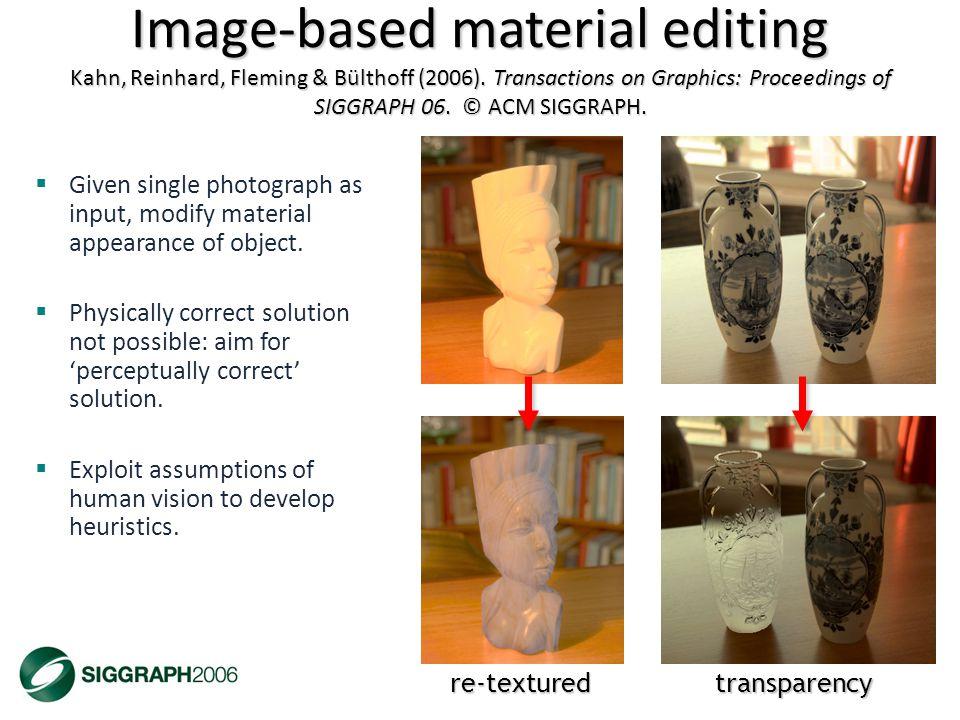 Image-based material editing Kahn, Reinhard, Fleming & Bülthoff (2006).