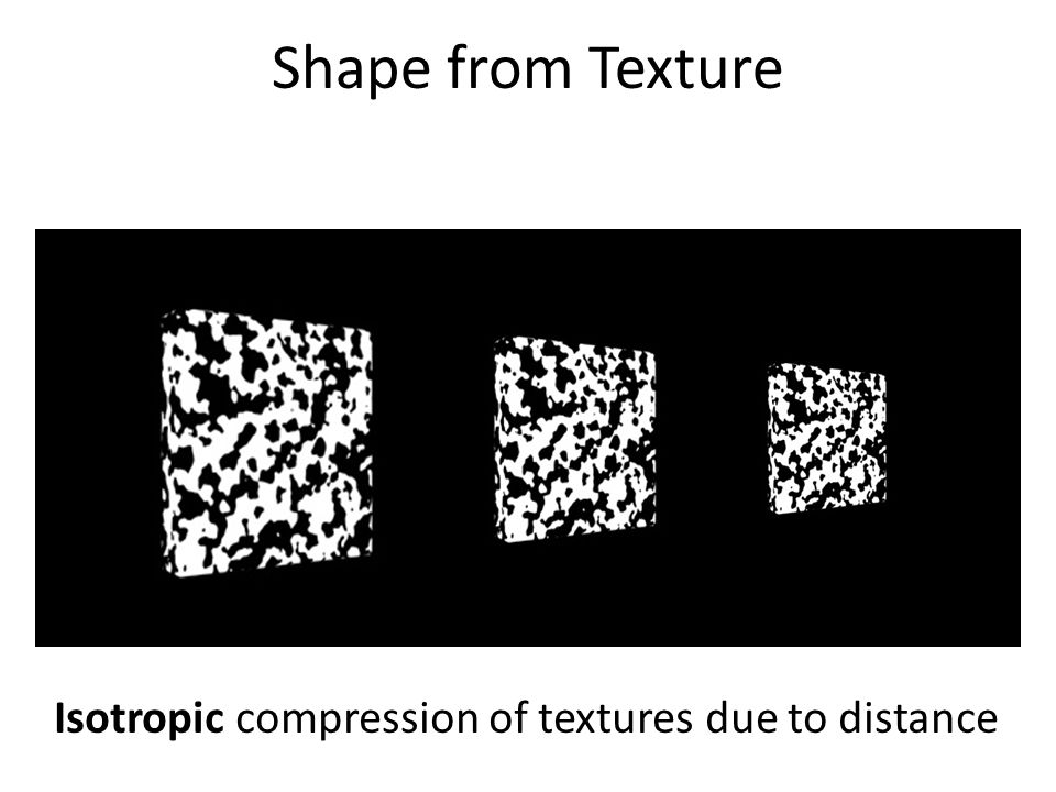 Isotropic compression of textures due to distance Shape from Texture