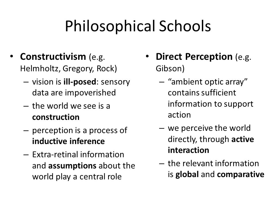 Philosophical Schools Gestalt Perception (e.g.