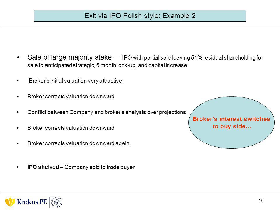 10 Sale of large majority stake – IPO with partial sale leaving 51% residual shareholding for sale to anticipated strategic, 6 month lock-up, and capi