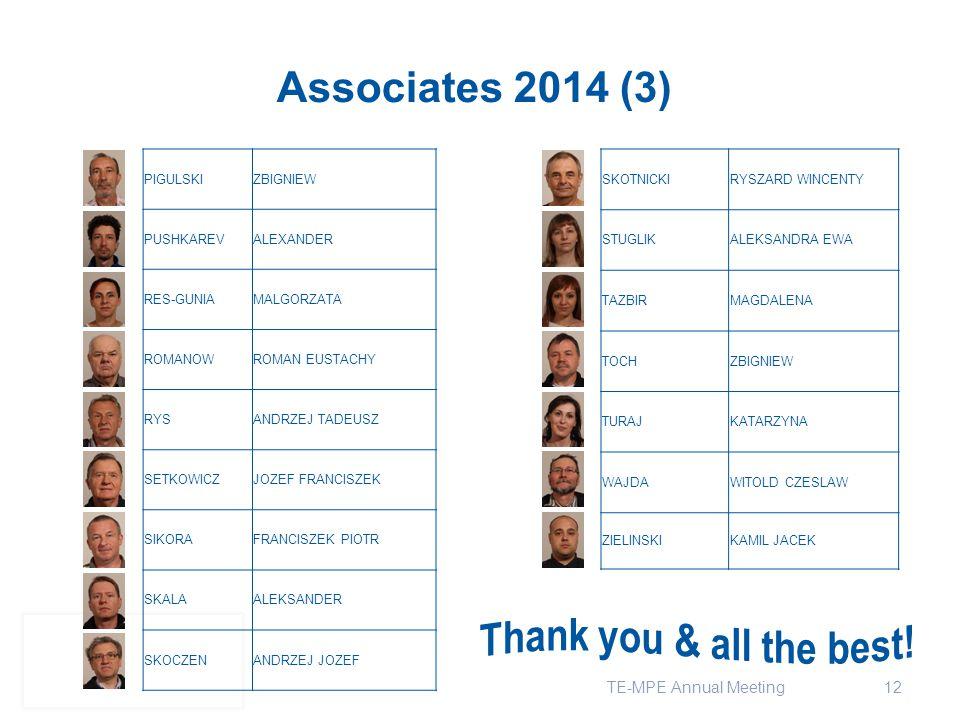 12 Associates 2014 (3) SKOTNICKIRYSZARD WINCENTY STUGLIKALEKSANDRA EWA TAZBIRMAGDALENA TOCHZBIGNIEW TURAJKATARZYNA WAJDAWITOLD CZESLAW ZIELINSKIKAMIL JACEK PIGULSKIZBIGNIEW PUSHKAREVALEXANDER RES-GUNIAMALGORZATA ROMANOWROMAN EUSTACHY RYSANDRZEJ TADEUSZ SETKOWICZJOZEF FRANCISZEK SIKORAFRANCISZEK PIOTR SKALAALEKSANDER SKOCZENANDRZEJ JOZEF TE-MPE Annual Meeting